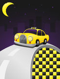 Yellow cab in a night ride. Yellow cab riding in the night on a grey road Royalty Free Stock Photos