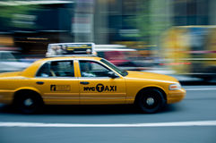 Yellow cab in NYC Stock Photo