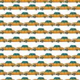 Yellow cab pattern. Cartoon style yellow cab seamless pattern Stock Photo