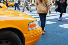 Yellow cab at the pedestrian crossing in Manhattan, NYC Royalty Free Stock Photography