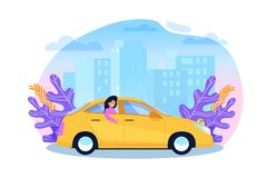 Yellow Cab Service. Woman Tourist in Sedan Cartoon. Illustration in Trend Color. Urban Carpool Transportation. Passenger in Back Sit of Taxi. Business Town stock illustration