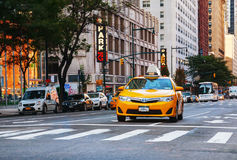 Yellow cab at the street of Manhattan Stock Photography
