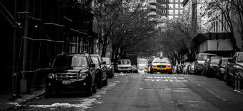 Yellow cab on the streets of western manhattan Royalty Free Stock Photo
