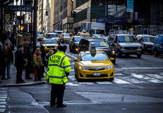 Yellow cab on the streets of western manhattan Royalty Free Stock Photography