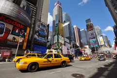 Yellow Cab in Times Square, New York City Stock Photography