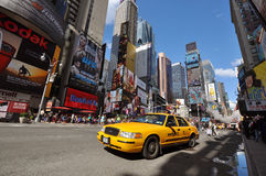 Yellow Cab in Times Square, New York City Royalty Free Stock Photos