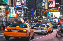 Yellow cab at Times Square, New York Royalty Free Stock Image