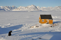 Yellow cabin and dog in winter. House in the Kulusuk village, Greenland Royalty Free Stock Photos