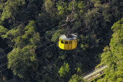 Yellow cabin of the funicular Stock Images