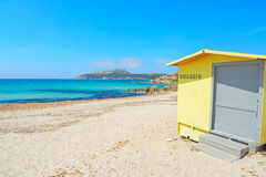 Yellow cabin by the shore in Santa Reparata beach Royalty Free Stock Photos