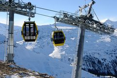 Yellow cabins with cableway Royalty Free Stock Photo