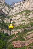Yellow cable car. In montserat in spain Royalty Free Stock Photos