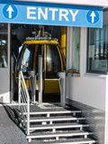 Yellow cable car ski lift entrance Royalty Free Stock Photography