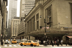 Yellow cabs at Grand Central Terminal Stock Photos
