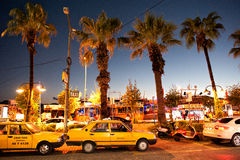Yellow cabs  in Marmaris Turkey Stock Images