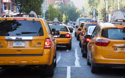 Yellow cabs on streets of Manhattan Stock Photography