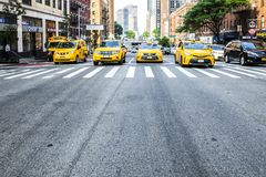 Yellow cabs on the streets of NYC stock image
