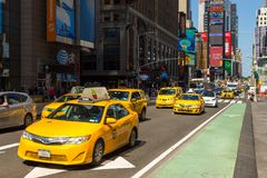 Yellow cabs at Times Square ,Midtown Manhattan. Royalty Free Stock Photography
