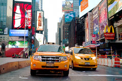 Yellow cabs at Times square in the morning Stock Image