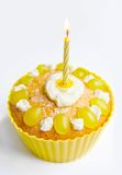 Yellow cake. Decorated with cream and grape Stock Photography
