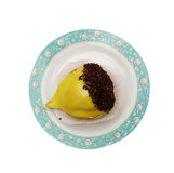 Yellow cake with chocolate Stock Photography