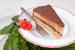 Yellow Cake with Chocolate Ganache and Roses Stock Image