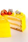 Yellow cake lemon dessert marzipan decoration Royalty Free Stock Photo
