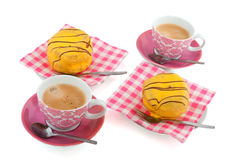 Yellow cakes and coffee Stock Image