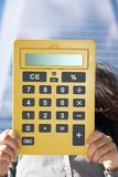 Yellow calculator with blank screen Stock Photography
