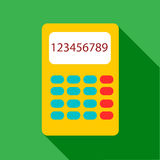 Yellow calculator icon, flat style. Yellow calculator icon. Flat illustration of yellow calculator vector icon for web Stock Image