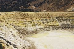The yellow caldera of Stefanos Crater, Nisyros royalty free stock image