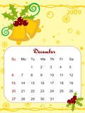 Yellow , calendar for 2009 with xmas bell Stock Photography