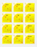 Yellow calendar for 2014 as stickers Royalty Free Stock Photography