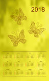 Yellow calendar year 2018  butterflies. Business english calendar for wall on year 2018 on the gradient background with hand drawn patterned butterflies. Week Stock Images