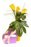 Yellow callas bouquet Royalty Free Stock Photo