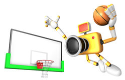 Yellow camera basketball player Vigorously jumping. Create 3D Ca Royalty Free Stock Image