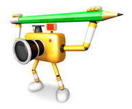 Yellow camera with both hands holding a large pencil. Create 3D Royalty Free Stock Photo