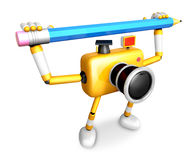Yellow camera with both hands holding a large pencil. Create 3D Stock Photography