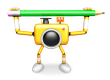 Yellow camera with both hands holding a large pencil. Create 3D Stock Images
