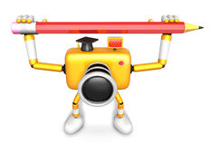 Yellow camera character with both hands holding a large pencil. Stock Images