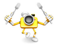 Yellow Camera Character Cook camera in both hands to hold a fork Stock Photos