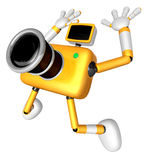 The Yellow Camera Character in Dynamic photos of the jump shot c Stock Photo