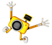 The Yellow Camera Character in Dynamic photos of the jump shot c Royalty Free Stock Photography