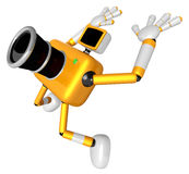 The Yellow Camera Character in Dynamic photos of the jump shot c Royalty Free Stock Images
