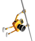 Yellow Camera character is hanging in horizontal bar. Create 3D Royalty Free Stock Photography