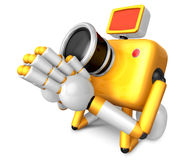 Yellow Camera Character kneel in prayer. Create 3D Camera Robot Stock Photography