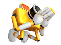 Yellow Camera Character kneel in prayer. Create 3D Camera Robot Royalty Free Stock Image