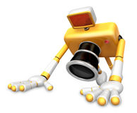 The Yellow Camera Character is push-up. Create 3D Camera Robot S Stock Images