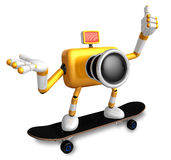 Yellow Camera Character skateboarding riding . Create 3D Camera Stock Image