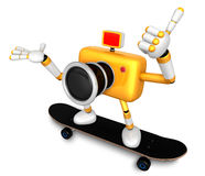 Yellow Camera Character skateboarding riding . Create 3D Camera Stock Photo